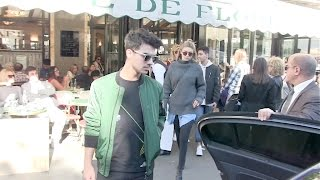 Joe Jonas, Gigi Hadid and Devon Windsor at Cafe de Flore in Paris