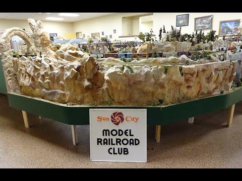 Large Model Railroad RR HO H.O. Scale Gauge Train Layout @ DelWebb SunCity AZ awesome trains