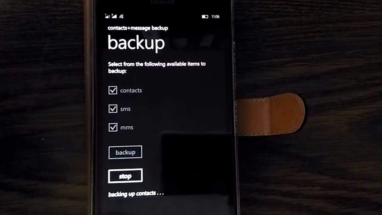 Microsoft Windows Phone 10 contacts, SMS and MMS backup & restore failed