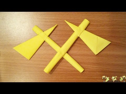 (DIY art) - How to Make Paper Axe - Origami Folds