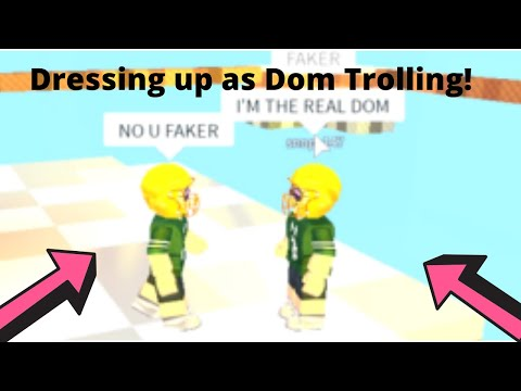 Dressing Up As Dom Trolling! Roblox Skywars