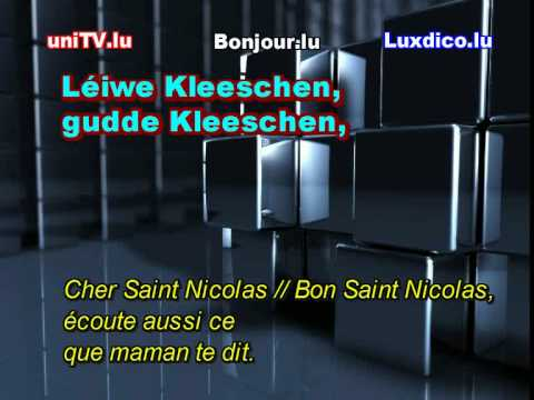 apprendre luxembourgeois clip # 24 (Lulling) : Léiwe Kleeschen (chanson - karaoke) Saint Nicolas