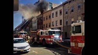 Jersey City 3rd Alarm Fire (iPhone Footage Shot by my Son Nick, Live via Facebook) 625 Newark Ave