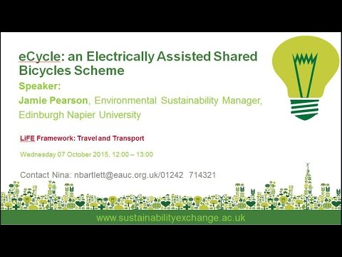 eCycle an Electrically Assisted Shared Bicycle Scheme 'exchange' webinar 2015