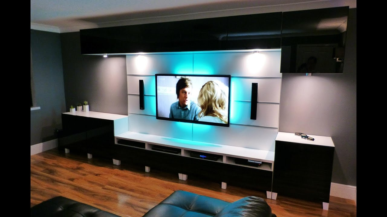Ikea besta livingroom and kitchen youtube for Modern lounge cabinets