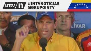 HENRIQUE CAPRILES NO RECONOCE EL TRIUNFO DE NICOLAS MADURO - ELECCIONES VENEZUELA 2013