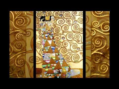 Gustav Klimt on silk. Gold silk. Мотивы Густава Климта на шелке.