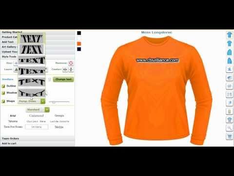Custom tee shirt designing software and application tool for Custom t shirt software