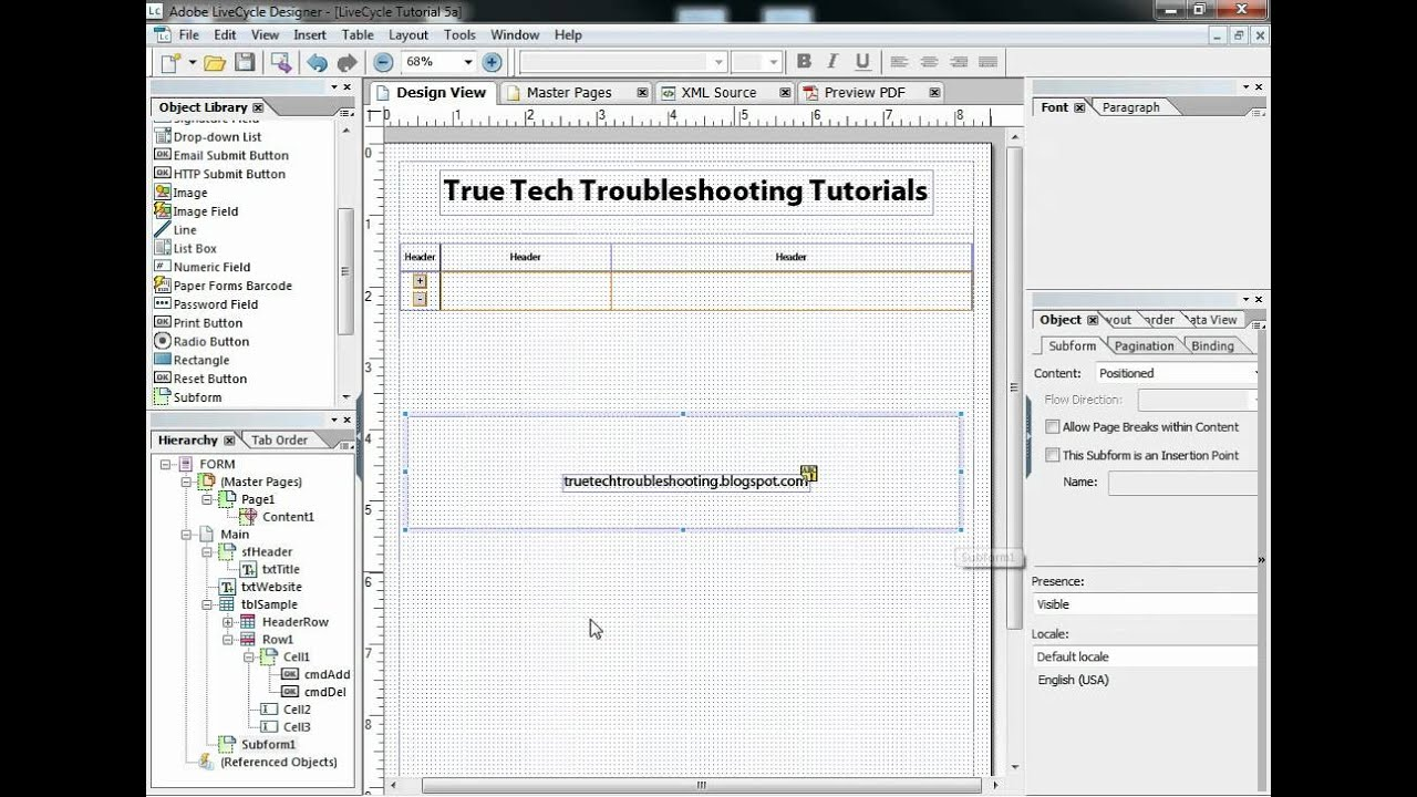 Form Flow with Expanding Tables in Adobe LiveCycle ®