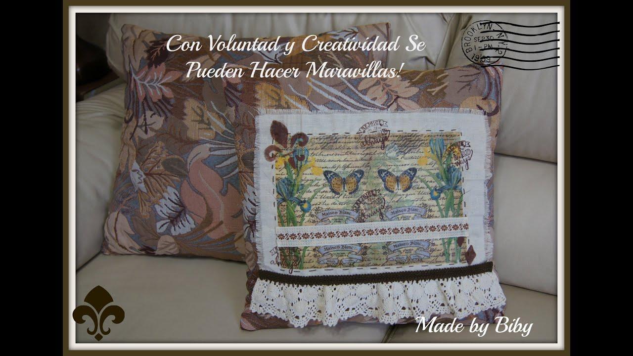 Re decora tus cojines t cnica decoupage en tela youtube - Cojines pintados en tela ...
