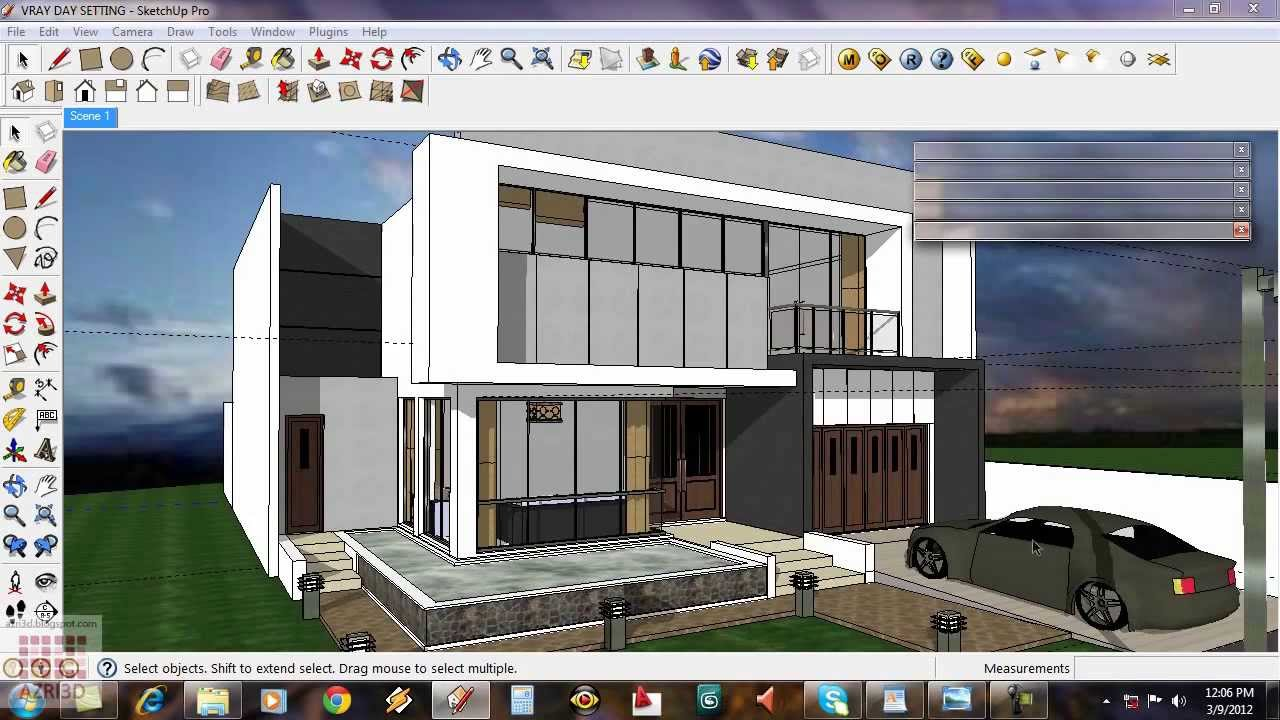 Google Sketchup Tutorial 15 Daytime Vray Exterior Setting Youtube