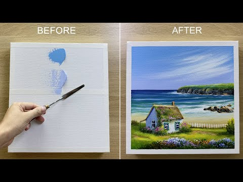 Paint a little house by the sea with Acrylic