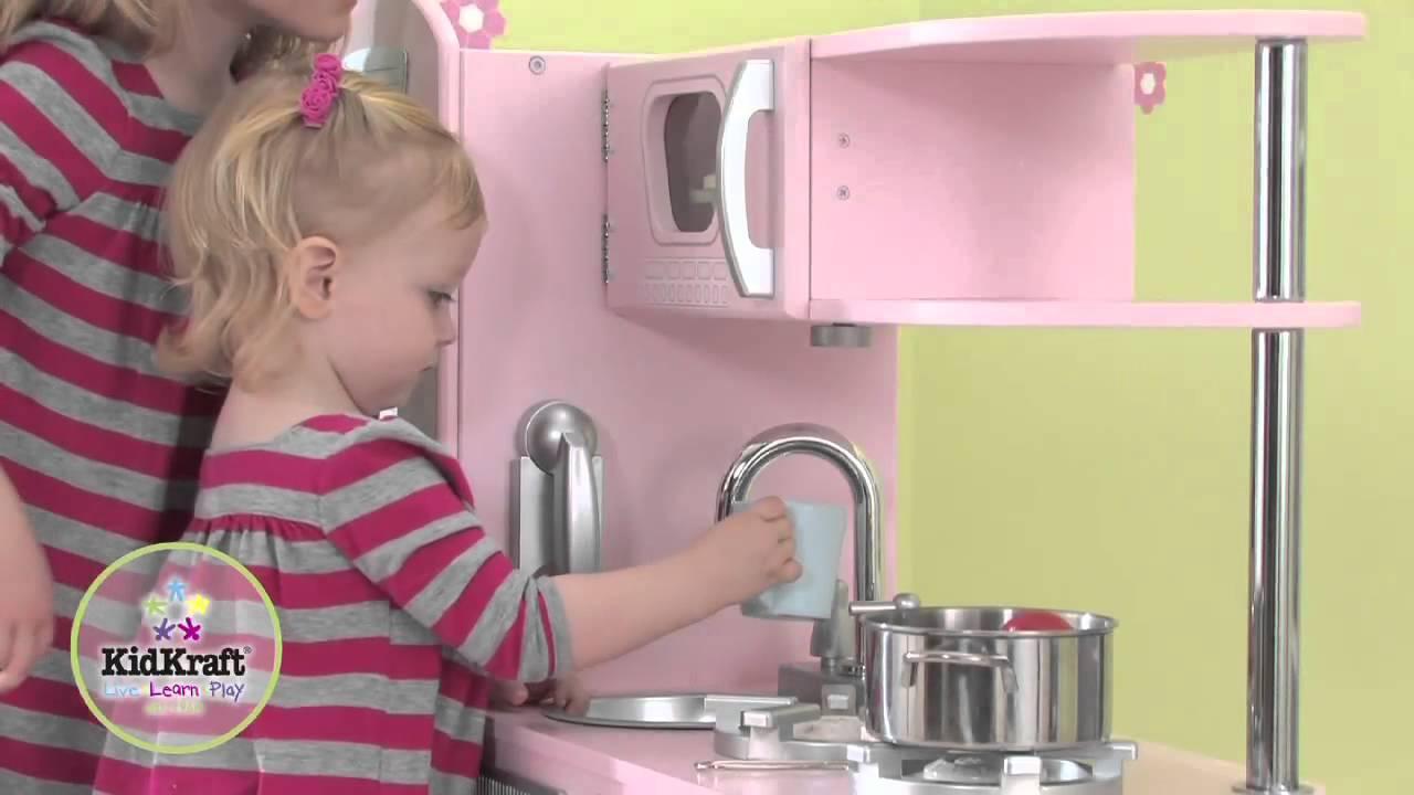 cuisine enfant vintage rose en bois kidkraft - youtube