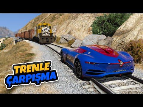Süper Yeni Nesil Arabalar Trenle Çarpışıyor - GTA 5