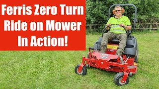 Mowing rough park land grass with a Ferris Zero Turn ride on riding mower IS600Z 400S 700 800 2100Z