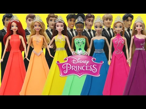Thumbnail: Play Doh Disney Prince and Princess Elsa Anna Ariel Tiana Aurora Belle Rapunzel Prom Outfits