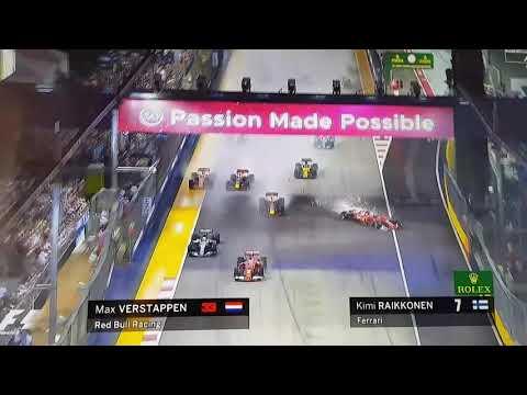 Singapore F1 Grand Prix 2017 MAJOR CRASH - Ferrari & Redbull - VETTEL TO BLAME !!!!