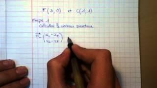 déterminer une équation cartésienne - Vecteur directeur