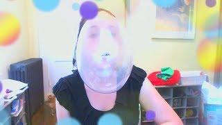 Blowing big bubbles with super bubble bubblegum!