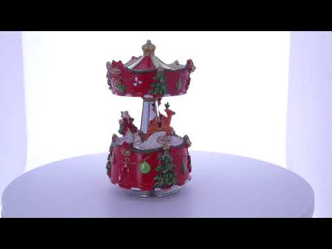 Rotating Santa & Reindeer Christmas Figurines Carousel with Music Box