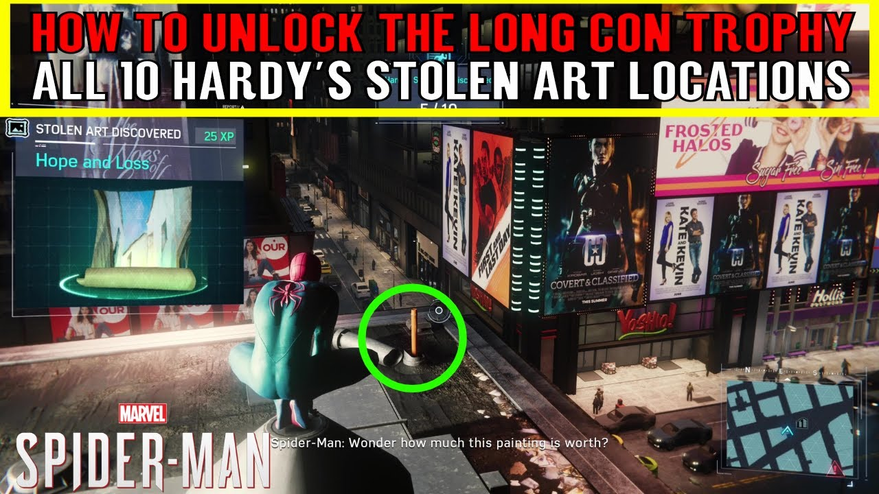 Download Spider-Man 2018 Black Cat DLC The heist 🕸 All Hardy's Stolen Art Locations 🕸 THE LONG CON TROPHY