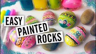 How to Paint Rocks - Easy Painted Rock Tutorial - Easter Eggs