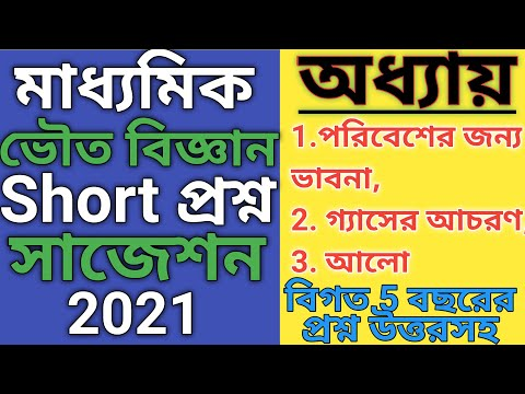 Madhyamik Suggestion 2021 Physical Science MCQ || Madhyamik Physical Science MCQ Suggestion 2021