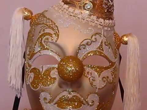 The Golden Clown Gold Laser Cut Venetian Masquerade Mask