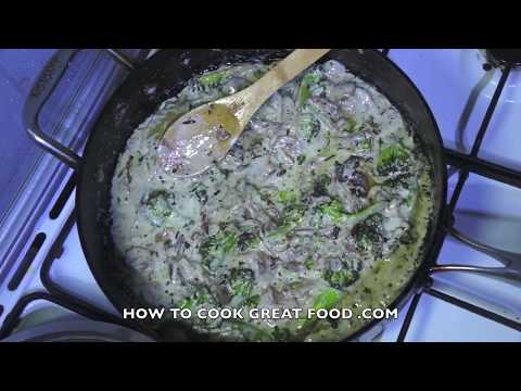 Easy Creamy Broccoli Mushroom Cheese Pasta Recipe