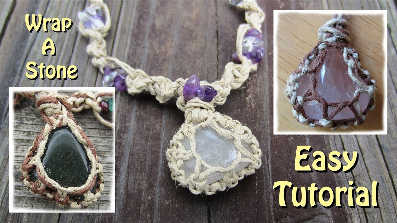 How to wrap a stone with string youtube for How to make rock jewelry