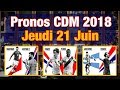 PRONOS Jeudi 21 Juin, Coupe Du Monde 2018 : France Pérou, Argentine Croatie et Danemark Australie !