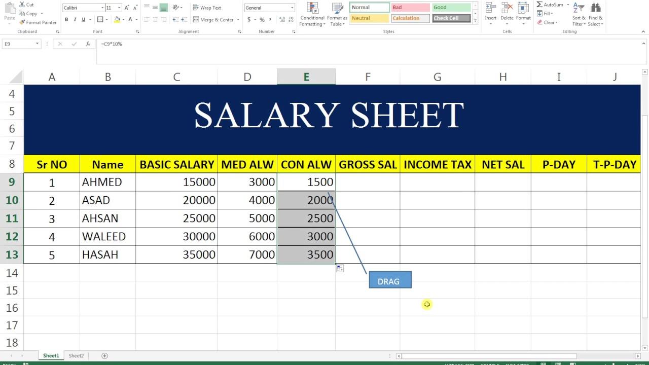 basic excel sheet 2 salary sheet youtube