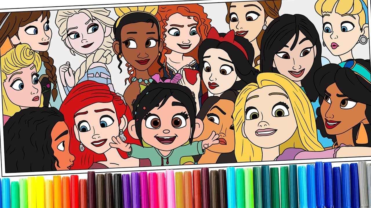 Disney Princess And Vanellope Coloring Pages Coloring Books For Kids Rainbow Tv Youtube