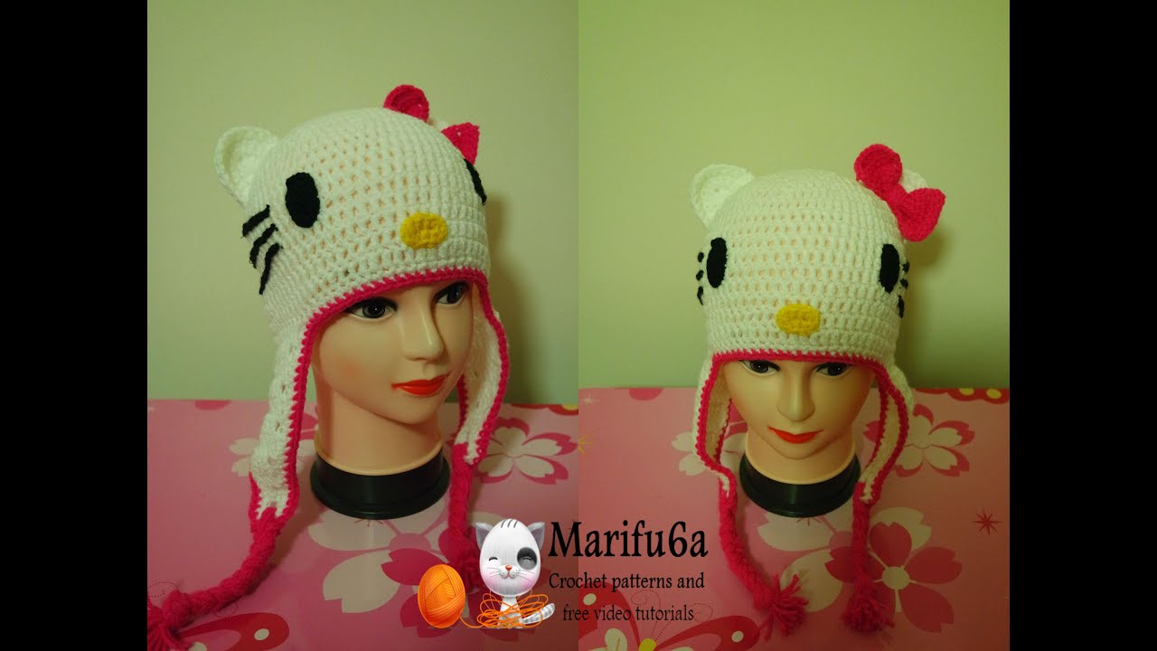 How to crochet hello kitty hat free pattern by marifu6a youtube how to crochet hello kitty hat free pattern by marifu6a ccuart Choice Image
