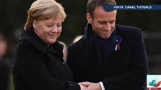 Histórica imagen de Macron y Merkel en el lugar del armisticio de 1918