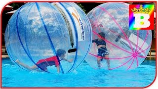 Giant WATER BALLS in a pool. POOL BALLS - Fun activities for Kids and Toddlers at Bogdan`s Show.