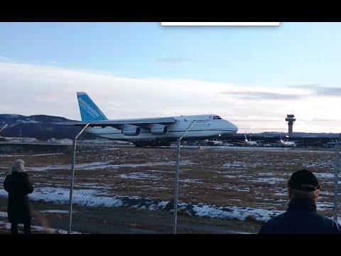 Antonov AN-124 takeoff from Trondheim Værnes!