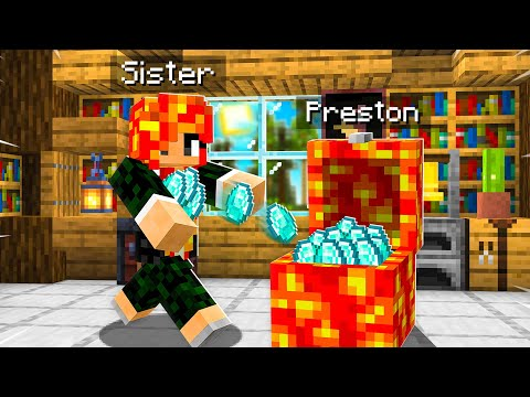 7 Ways to STEAL my Little Sister's Diamonds! (Minecraft)