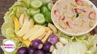 เต้าเจี้ยวหลนโบราณกินกับผักสดอร่อยThai food (Soy bean dipping sauce)| happytaste