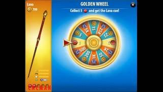Pool Live Tour Golden Wheel of Fortune Cue Lava