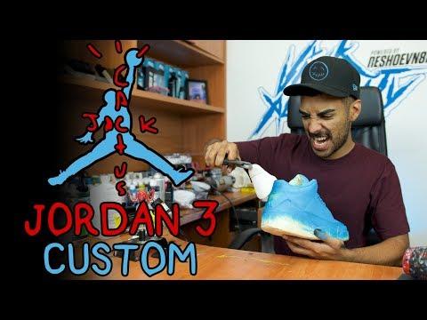 Cactus Jack Custom Air Jordan 3 Tutorial by Vick Almighty