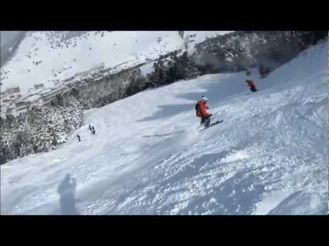 Soldeu 2013 Nigel filming Paul & Martin down red run Torralardonna