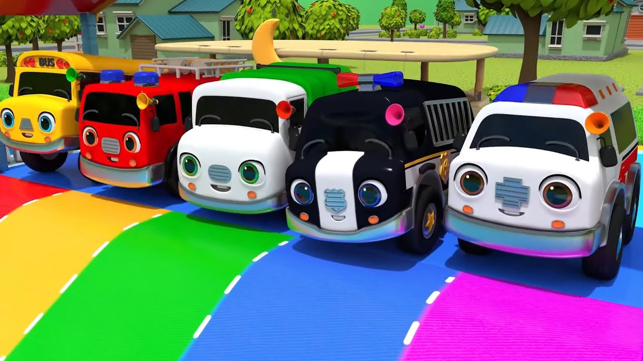 Download Learn Safety Song with Five Little Cars Go Down The Slide Song - Nursery Rhymes & ToyMonster