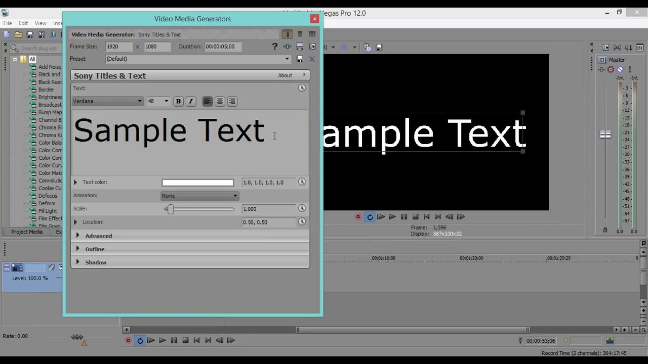 How to Add Text using Sony Vegas Movie Studio HD Platinum