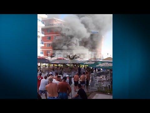 Report TV - Velipojë, restoranti në flakë pas rrjedhjes së gazit, 4 rëndë