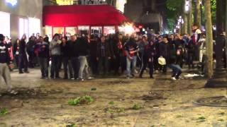 Sacre du PSG Affrontements devant la boutique PSG.Paris/France - 07 Mai 2014