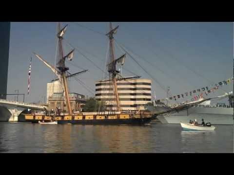 Tall Ship USS Niagara On Maumee River With Toledo, Ohio Skyline Canoe Trip From Walbridge Park