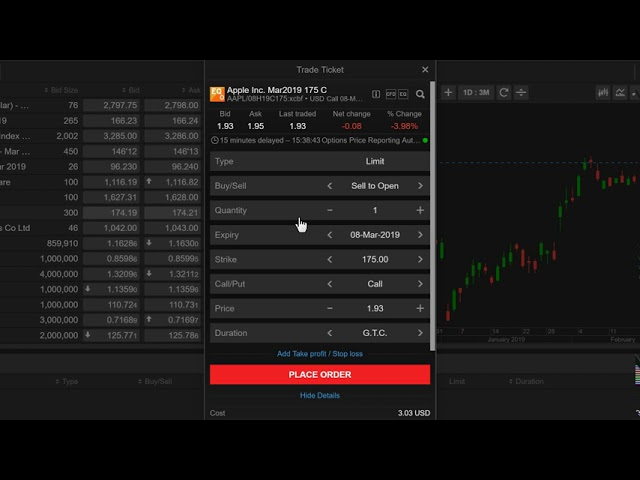 Placing a Listed Option Order from Watchlist in ELANA Global Trader