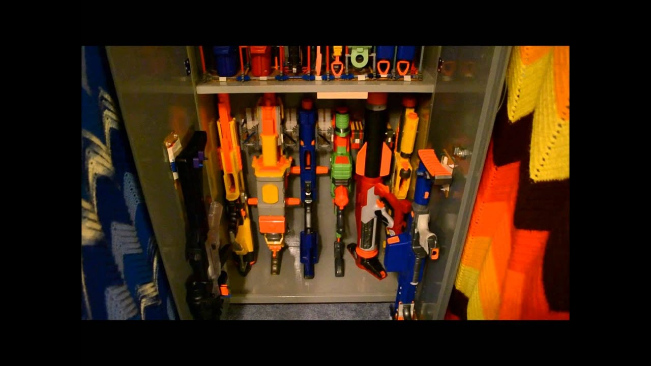 My Nerf Gun Collection Cabinet - YouTube