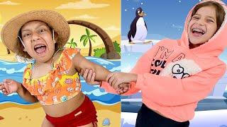 Maria Clara e uma História Engraçada de Neve VS Praia com sua amiga Jessica - MC Divertida